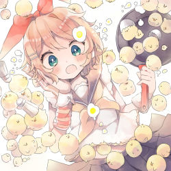 1girl aqua_eyes bird black_skirt blush chick crop_top egg_yolk eggshell fang frying_pan hair_ornament hair_ribbon hairclip hand_on_own_cheek holding kagamine_rin midriff niwa_(ejizon) open_mouth pleated_skirt red_ribbon ribbon sailor_collar salt_shaker simple_background skirt too_many too_many_chicks vocaloid wavy_eyes white_background wrist_cuffs