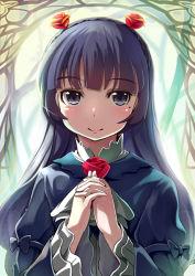 1girl black_eyes black_hair gokou_ruri gothic_lolita hands_clasped kubocha lolita_fashion long_hair mole ore_no_imouto_ga_konna_ni_kawaii_wake_ga_nai smile