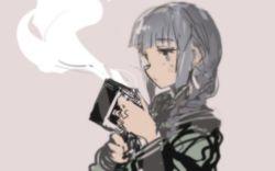 1girl black_hair cup custom_(cus-tom) green_eyes kantai_collection kitakami_(kantai_collection) mug school_uniform serafuku steam