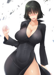 1girl absurdres angry black_dress black_hair blush breasts cleavage covered_navel curvy dress erect_nipples fubuki_(one-punch_man) green_eyes haganef large_breasts looking_at_viewer one-punch_man open_mouth solo taut_clothes wide_hips