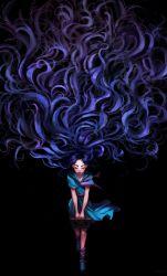 1girl absurdly_long_hair bag bookbag eyes_closed full_body highres holding_bag jojo_no_kimyou_na_bouken long_hair purple_hair school_uniform serafuku smile socks solo sunny_ameliya very_long_hair yamagishi_yukako