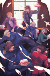 6+boys cake emiya_kiritsugu fate/zero fate_(series) food food_fight kayneth_archibald_el-melloi kotomine_kirei matou_kariya multiple_boys tohsaka_tokiomi uryuu_ryuunosuke waver_velvet yamakawatani