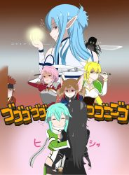 2boys 6+girls animal_ears aqua_hair armor artist_request asuna_(sao) asuna_(sao-alo) bare_shoulders black_eyes black_hair blonde_hair blue_hair breastplate brown_eyes brown_hair cat_ears coat dress elf evil_smile eyes_closed fairy fingerless_gloves from_behind gloom_(expression) gloves glowing glowing_eyes hair_ornament hairclip half_updo headband hiding hug jealous kirito kirito_(sao-ggo) klein klein_(sao-alo) leafa lisbeth lisbeth_(sao-alo) long_hair looking_back mace multiple_boys multiple_girls pink_hair pointy_ears red_eyes scared scarf shaded_face shinon_(sao) short_hair short_shorts shorts silica silica_(sao-alo) smile sweatdrop sword sword_art_online translation_request twintails weapon wings yui_(sao) yui_(sao-alo)