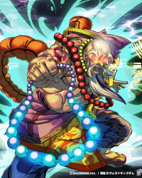 1boy bald beads beard character_request facial_hair geta glowing glowing_eyes highres itadori_washi jewelry lightning necklace official_art senran_no_samurai_kingdom shirtless signature solo tattoo watermark