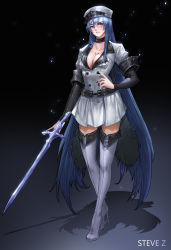 1girl absurdres akame_ga_kill! artist_name bangs black_background black_nails blue_eyes blue_hair blush boots breasts chest_tattoo choker cleavage clenched_teeth coat collarbone crystal_sword esdeath fingernails full_body hair_between_eyes hand_on_hip hat high_heels highres ice legs lips long_hair long_sleeves looking_at_viewer medium_breasts military military_uniform nail_polish peaked_cap pink_lips shadow simple_background skirt steve_zheng sword tattoo teeth thigh_boots thighhighs uniform very_long_hair weapon