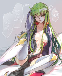 1girl breasts c.c. code_geass creayus green_hair hard_translated high_heels jacket long_hair navel no_bra open_clothes open_jacket scar sitting thighhighs translated waking_up yellow_eyes
