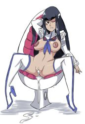 1girl ;) after_vaginal aftersex bigdead93 black_eyes black_hair boots chair cum cum_in_pussy cumdrip dark_nipples egg_chair eyebrows full_body highres junketsu kill_la_kill kiryuuin_satsuki long_hair nipples no_panties one_eye_closed pussy sitting smile solo spread_legs spread_pussy thick_eyebrows thigh_boots thighhighs