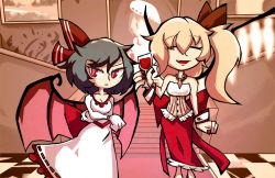 2girls alcohol blonde_hair blue_hair cup dress drinking_glass eyes_closed fang flandre_scarlet hair_ribbon multiple_girls nail_polish older open_mouth red_eyes remilia_scarlet ribbon setz short_hair side_ponytail smile stairs touhou white_dress wine wine_glass