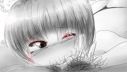 1girl deepthroat fellatio loli monochrome one_eye_closed penis pubic_hair sako2 tagme thong