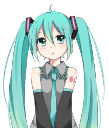1girl detached_sleeves green_eyes green_hair hatsune_miku long_hair mirin necktie simple_background solo tattoo twintails very_long_hair vocaloid white_background