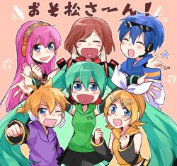 2boys 4girls :d ;d ^_^ ^o^ aqua_hair belt black_skirt blonde_hair blue_eyes blue_hair blush brown_hair clenched_hand coat cowboy_shot detached_sleeves eyes_closed hair_ornament hair_ribbon hairband hairclip hatsune_miku headphones headset heart heart_in_mouth hood hoodie kagamine_len kagamine_rin kaito long_hair looking_at_viewer meiko multiple_boys multiple_girls one_eye_closed open_mouth osomatsu-san outstretched_arm pink_background pink_hair pleated_skirt ribbon scarf short_hair simple_background skirt smile star sweater twintails very_long_hair vest vocaloid white_ribbon winter_clothes winter_coat