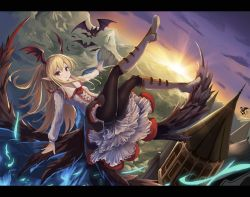 1girl bat bat_wings black_wings blonde_hair boots castle dutch_angle eruthika feathered_wings flower flying frilled_skirt frills granblue_fantasy head_wings highres letterboxed long_hair looking_at_viewer low_wings outstretched_arms pantyhose petticoat pointy_ears red_eyes rose skirt smile solo sunrise vampire vampy wings