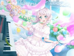 1girl balloons bang_dream! blue_eyes blush dress flower hydrangea long_hair smile solo twin_braids wakamiya_eve white_hair
