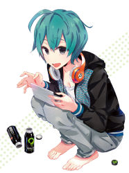 1girl :d ahoge androgynous aqua_hair bangs barefoot breasts can casual cleavage denim drink feet from_side full_body grey_eyes headphones headphones_around_neck highres hoodie jeans long_sleeves looking_at_viewer official_art open_mouth pants playing_games polka_dot polka_dot_background ponkan_8 shirobako short_hair smile solo squatting tomboy toudou_misa white_background