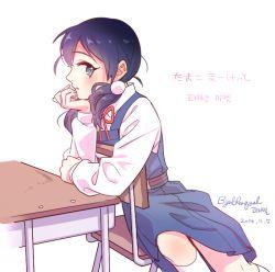1girl black_hair blue_eyes byulrorqual chair kitashirakawa_tamako long_hair low_twintails school_desk school_uniform sitting tamako_market twintails