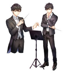 1boy black_hair black_shoes blazer brown_eyes closed_mouth coattails conductor full_body hand_on_own_chin holding holding_wand jacket looking_at_viewer male_focus messy_hair multiple_views music original shirt shoes simple_background smile solo stand tuxedo wand white_background white_shirt yuli_(yulipo)