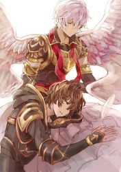 2boys angel_wings armor blue_eyes brown_hair commentary_request elbow_gloves eyes_closed gloves granblue_fantasy hand_on_another's_head hood hood_down hooded_jacket jacket kazuhito_(1245ss) lap_pillow long_sleeves lucifer_(shingeki_no_bahamut) multiple_boys pink_hair sandalphon_(granblue_fantasy) short_sleeves shoulder_armor sitting sleeping smile spread_wings white_background wings