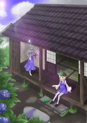 2girls akisome_hatsuka blonde_hair carrying cup detached_sleeves flower frog green_eyes green_hair hat house hydrangea kochiya_sanae long_hair moriya_suwako multiple_girls purple_eyes sitting teacup thighhighs touhou tray walking wooden_floor zettai_ryouiki