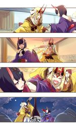 2girls alcohol blonde_hair blush cis05 cup facial_mark fangs fate/grand_order fate_(series) horns ibaraki_douji_(fate/grand_order) japanese_clothes kimono long_hair multiple_girls oni oni_horns open_mouth purple_eyes purple_hair sakazuki sake short_hair shuten_douji_(fate/grand_order) smile yellow_eyes