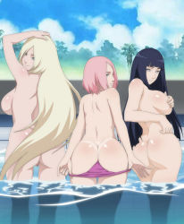3girls ass back bare_back bikini black_hair blonde_hair blue_eyes breasts butt_crack covering_nipples from_behind green_eyes haruno_sakura hyuuga_hinata large_breasts lavender_eyes lexus_(artist) long_hair looking_at_viewer looking_back multiple_girls naruto nude panty_pull parted_lips partially_submerged pink_hair pool pussy short_hair sideboob smile tanline topless uncensored undressing very_long_hair water yamanaka_ino