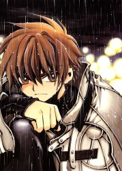 1boy absurdres brown_eyes brown_hair clamp highres huge_filesize looking_at_viewer outdoors rain short_hair solo tsubasa_chronicle xiaolang