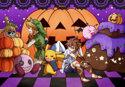 4boys angel animal_ears blonde_hair blue_eyes brown_hair cake candy costume doll eating food gloves grin halloween hat helmet horns jack-o'-lantern kid_icarus kid_icarus_uprising kirby kirby_(series) link lollipop multiple_boys nintendo pikachu pit pokemon pumpkin red_eyes short_hair skeleton skull smile stalfos_knight stitches super_smash_bros. tail teeth the_legend_of_zelda wings wizard