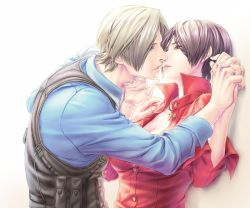 1boy 1girl ada_wong black_hair blonde_hair breasts brown_eyes cleavage gloves leon_s_kennedy resident_evil resident_evil_6 short_hair