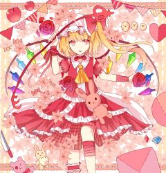 1girl :o alternate_costume apple ascot bangs bird blonde_hair bow chick choker cowboy_shot crystal detached_sleeves dress flandre_scarlet flower food fruit hat hat_bow heart knife laevatein leg_up looking_at_viewer mob_cap puffy_short_sleeves puffy_sleeves red_bow red_dress red_eyes red_ribbon red_rose ribbon ribbon_choker rose sakipsakip short_sleeves side_ponytail solo stuffed_animal stuffed_bunny stuffed_toy teddy_bear touhou wings wrist_cuffs
