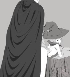 1boy 1girl bent_over berserk bottomless cape clothed_male_nude_female doggystyle flat_chest grey_background greyscale guts hat head_out_of_frame height_difference hetero kyder loli monochrome schierke sex short_hair simple_background tongue tongue_out torso_grab witch witch_hat