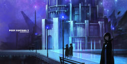 artist_name black_hair building cape copyright_name highres landscape looking_at_viewer night outdoors pixiv_fantasia pixiv_fantasia_t short_hair standing swd3e2