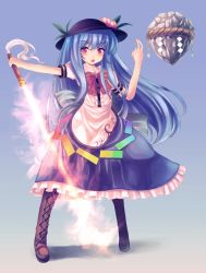1girl bad_hands blue_hair boots bow cross-laced_footwear floating_rock food fruit full_body glowing glowing_sword glowing_weapon hat highres hinanawi_tenshi long_hair looking_at_viewer open_mouth peach puffy_short_sleeves puffy_sleeves red_hair rope shimenawa shirt short_sleeves skirt solo sword_of_hisou t.m_(aqua6233) touhou very_long_hair weapon