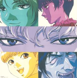 1girl 4boys berserk casca close-up column_lineup corkus eyes freckles griffith hair_between_eyes highres judeau looking_at_viewer monochrome multiple_boys multiple_monochrome official_art open_mouth portrait profile rickert short_hair teeth