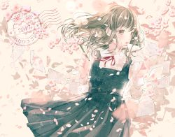 1girl 2017 brown_eyes brown_hair cherry_blossoms commentary dress english envelope eyelashes highres letter light_particles lips lipstick long_hair looking_to_the_side love_letter makeup muted_color neck_ribbon original pale_skin pencil petals postmark ribbon ruru school_uniform solo spring wind