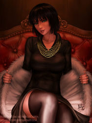 1girl 2017 artist_name bangs black_hair black_legwear black_shirt breasts coat collared_shirt deviantart_username fingernails fubuki_(one-punch_man) fur_coat green_eyes head_tilt highres jewelry large_breasts lips long_sleeves looking_at_viewer mirco_cabbia necklace nose on_chair one-punch_man open_clothes open_coat open_mouth parted_lips patreon_username shiny shiny_clothes shirt short_hair signature sitting solo taut_clothes thighhighs watermark web_address wing_collar zettai_ryouiki