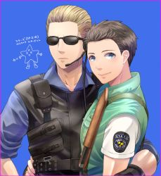 2boys albert_wesker blonde_hair blue_eyes brown_hair chris_redfield male multiple_boys resident_evil ritsu_(0015-xxxlxxxr) sunglasses translation_request vest