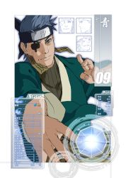 1boy ao_(naruto) blue_eyes blue_hair earrings eyepatch forehead_protector highres jewelry k_(mns-law6) male_focus naruto naruto_shippuuden simple_background solo white_background