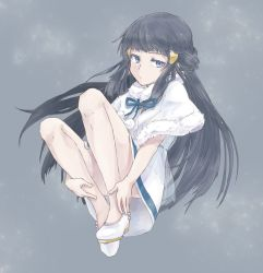 1girl black_hair blue_eyes blue_hair capelet dress expressionless fetal_position full_body fur-trimmed_capelet fur_trim grey_background hair_ornament high_heels highres hikari_(pokemon) long_hair pokemon pokemon_(game) pokemon_dppt rifu_(rif_rif) simple_background snow solo
