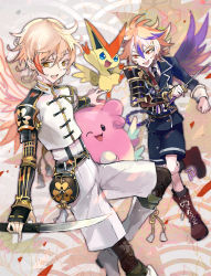 2boys armor blissey blonde_hair boots brown_eyes brown_hair cross-laced_footwear fang gotou_toushirou japanese_armor kantarou_(8kan) kote lace-up_boots legwear_under_shorts male_focus military military_uniform monoyoshi_sadamune multicolored_hair multiple_boys necktie one_eye_closed open_mouth pantyhose pokemon pokemon_(creature) shorts single_wing smile sode streaked_hair sword tantou touken_ranbu uniform victini wakizashi weapon wings yellow_eyes