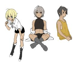 3boys ahoge bare_shoulders blonde_hair boots brown_hair candy dark_skin erubo flat_color food_in_mouth lollipop male_focus midriff multiple_boys shorts simple_background socks tank_top white_background