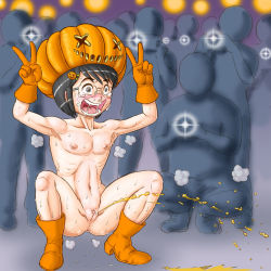 1girl armpit boots bottomless clitoral_hood clitoris crowd erect_clitoris exhibitionism flat_chest glasses halloween hat laughing loli nanasi0507 nipples peeing public public_nudity pumpkin pussy snot solofocus tears topless