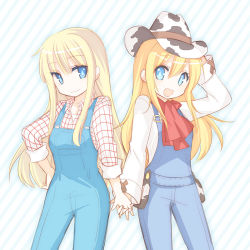 2girls animal_print blonde_hair blue_eyes claire_(harvest_moon) cow_print cowboy_hat hand_holding harvest_moon harvest_moon:_a_new_beginning hat long_hair multiple_girls nocana open_mouth overalls rio_(harvest_moon) smile
