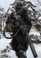android armor cable camera_eyes copyright_name cyberpunk highres japanese john_sonting johnsonting mecha neo_japan_2022 operator power_connection railgun robot science_fiction trigger_discipline weapon