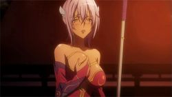 animated animated_gif blush breast_grab breast_press breasts cleavage dark_skin fire gloss grabbing lance large_breasts long_hair lowres matsunaga_hisahide_(oda_nobuna_no_yabou) oda_nobuna_no_yabou polearm purple_hair sweat weapon yellow_eyes