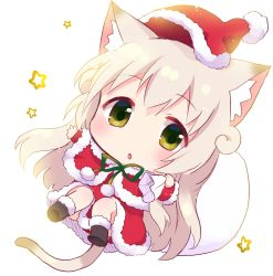 1girl animal_ears blonde_hair cat_ears cat_tail christmas green_eyes hat long_hair minigirl nyanko_days original sack santa_costume santa_hat shii_(nyanko_days) solo tail tarabagani