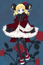 1girl akechi_kokoro alternate_costume black_legwear blonde_hair blue_eyes blush bow chico152 dress frills hair_bow hat high_heels highres mini_top_hat open_mouth platform_footwear platform_heels shoes solo tantei_opera_milky_holmes top_hat twintails