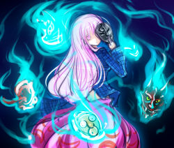 1girl blue_fire commentary_request dress empty_eyes fire hata_no_kokoro jojo_no_kimyou_na_bouken long_hair looking_at_viewer looking_back mask no_nose pink_dress pink_eyes raptor7 shaded_face solo stone_mask_(jojo) touhou