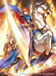 1boy artist_request blue_eyes boots cape company_connection copyright_name detached_sleeves eliwood_(fire_emblem) fire_emblem fire_emblem:_rekka_no_ken fire_emblem_cipher holding holding_weapon horse horseback_riding knee_boots male_focus open_mouth red_hair riding sword weapon