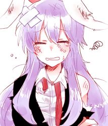 1girl animal_ears bunny_ears crossed_bandaids dirty_face eyes_closed lavender_hair long_hair reisen_udongein_inaba shirt six_(fnrptal1010) solo squiggle tears torn_clothes torn_jacket torn_shirt touhou undone_necktie unhappy upper_body