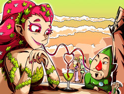 2boys 2girls blonde_hair cloud cloudy_sky colored_eyelashes cup drinking drinking_glass drinking_straw great_fairy hat heart hetero link multiple_boys multiple_girls nail_polish orange_eyes pink_hair princess_zelda red_eyes red_nose setz sky straw the_legend_of_zelda the_legend_of_zelda:_ocarina_of_time thumbs_up tingle wine_glass zelda_musou