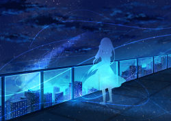 1girl barefoot from_behind long_hair night night_sky original outdoors railing sky solo star_(sky) starry_sky yue_yue